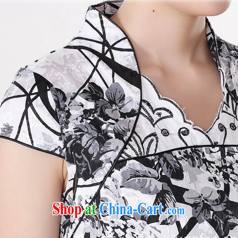 Ko Yo Mephidross beauty summer 2015 new stylish retro improved cheongsam dress new damask V collar short-sleeve retro stamp cheongsam D 0209 Map Color 175/2 XL, capital city sprawl, shopping on the Internet