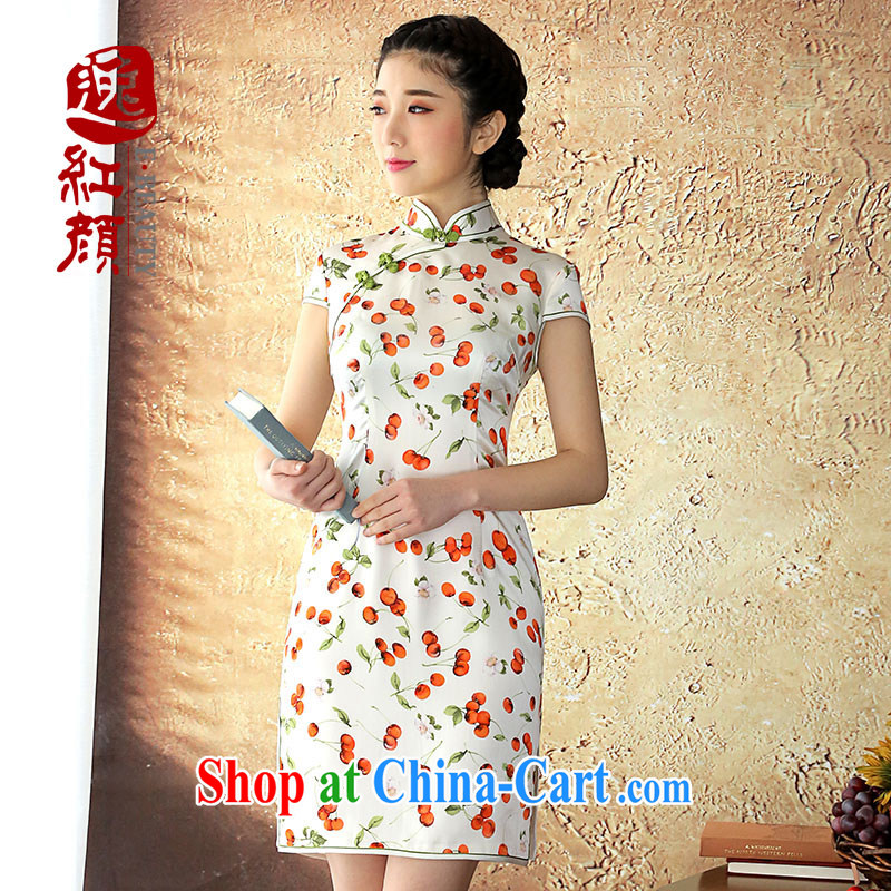 once and for all elections as soon as possible proverbial hero Zhu Ying cheongsam silk dresses, silk Solid Color summer blouses short-sleeved improved cheongsam dress white 2XL may 26 issue