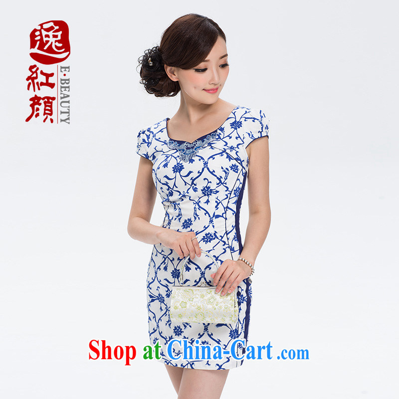 once and for all elections as soon as possible fatally jealous tattoo 2014 new summer China wind dresses summer dresses skirts female ethnic wind dress blue S