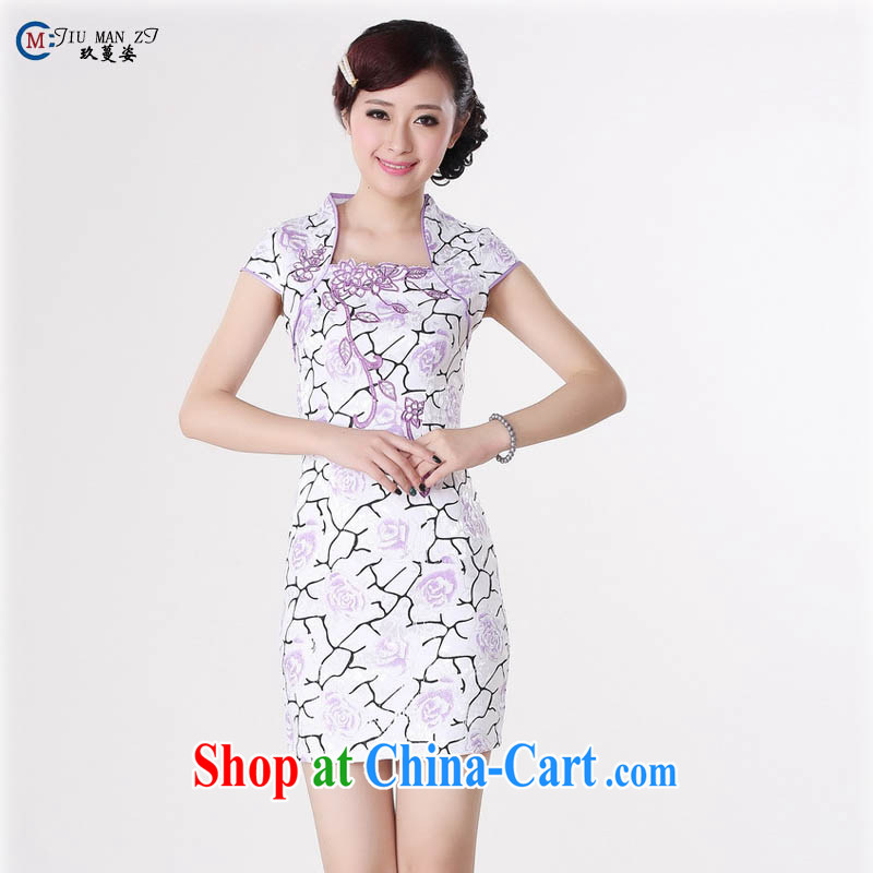 Ko Yo Mephidross beauty summer 2015 new stylish retro improved cheongsam dress jacquard cotton fresh short-sleeved retro stamp cheongsam D 0215 light purple 175_2 XL