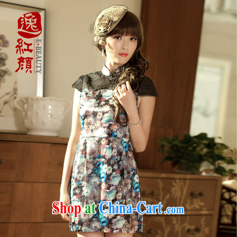 The proverbial hero once and for all as soon as possible take population improved stylish dresses summer retro 2014 summer new lace short cheongsam dress blue 2 XL