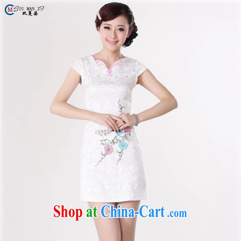 Ko Yo Mephidross beauty summer 2015 new stylish retro improved cheongsam dress jacquard cotton-tie V collar short-sleeved retro stamp cheongsam D 0214 white 175_2 XL