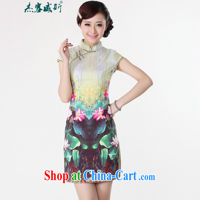 Jessup, new, improved, leading the charge stamp duty short-sleeved qipao dresses girls dresses Chinese qipao Lotus TD 0193 _green XXL