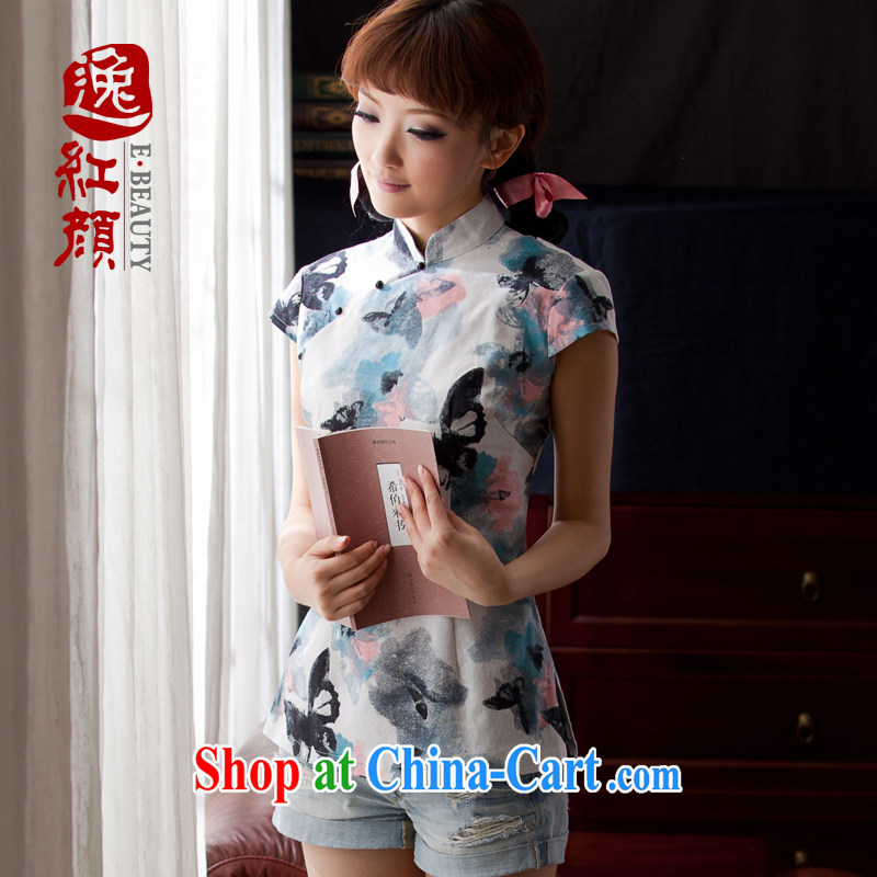 The proverbial hero once and for all by 2015 as soon as possible dresses T-shirt short-sleeved summer new cotton the cheongsam short-sleeved clothes Chinese, ethnic wind black XL