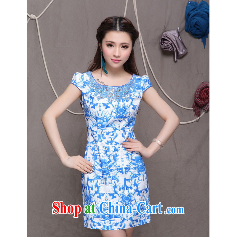 Shallow end dresses high-end ethnic wind stylish Chinese qipao dress daily retro beauty graphics thin cheongsam H 9901
