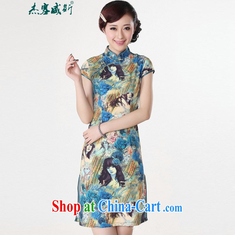 Jessup, new stylish improvements, short-sleeved hand tie cheongsam dress Chinese cheongsam Chinese qipao TD 0196 _blue XL