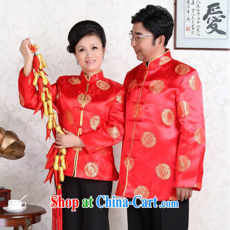 Middle-aged and older couples with Tang Tang with men and women, spring and summer jackets T-shirt Dad loaded with her mother to life wedding show Clothing Gifts J 0058 red women 165/L