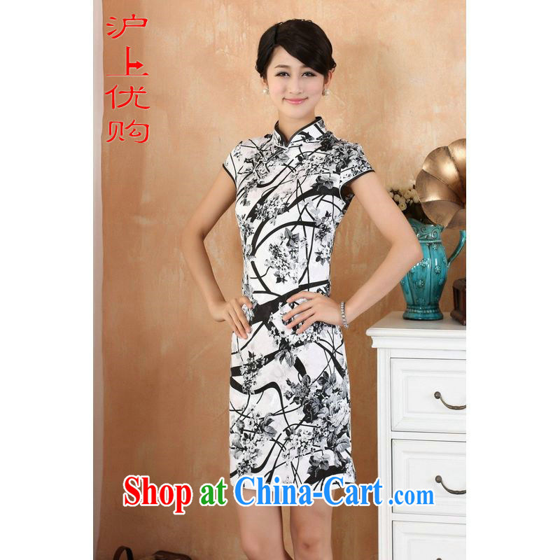 Shanghai, optimize purchase cheongsam dress summer improved retro dresses, for a tight cotton stamp Chinese improved cheongsam dress short white M recommendations 100 - 110 jack