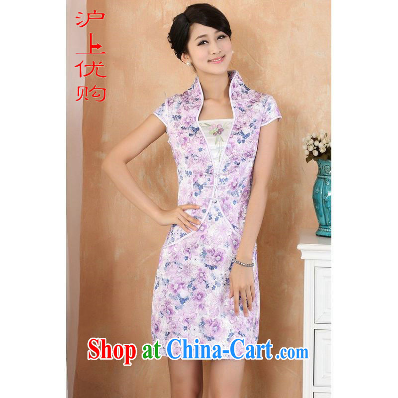Shanghai, optimize purchase cheongsam dress summer improved retro dresses, for a tight cotton stamp Chinese improved cheongsam dress short purple XL recommendations 115 - 120 jack