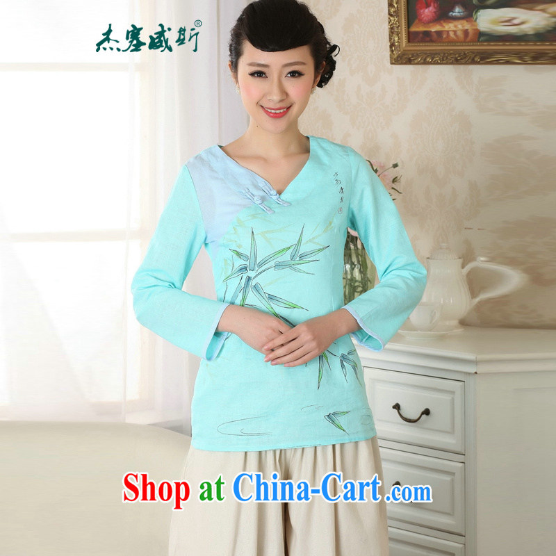 Jessup, new, Retro improved hand-painted dresses T-shirt cotton the Chinese Ethnic Wind female Chinese T-shirt shirt TA 0059 _blue XXL