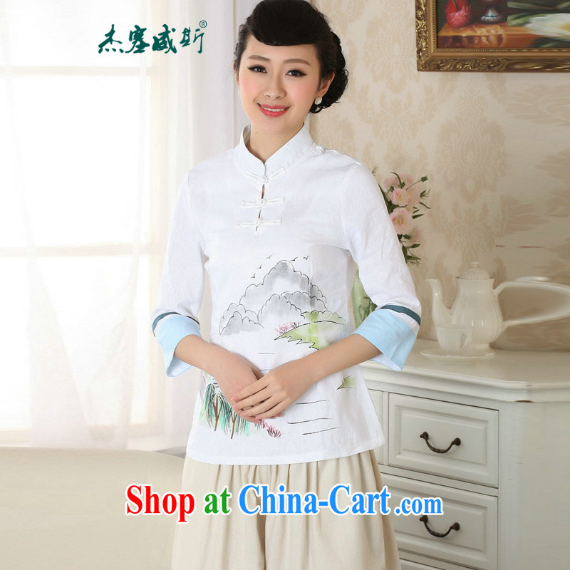 Jessup, new, improved, for manual for hand-painted dresses T-shirt cotton the Chinese Ethnic Wind female Chinese T-shirt shirt TA 0060 _white XXL