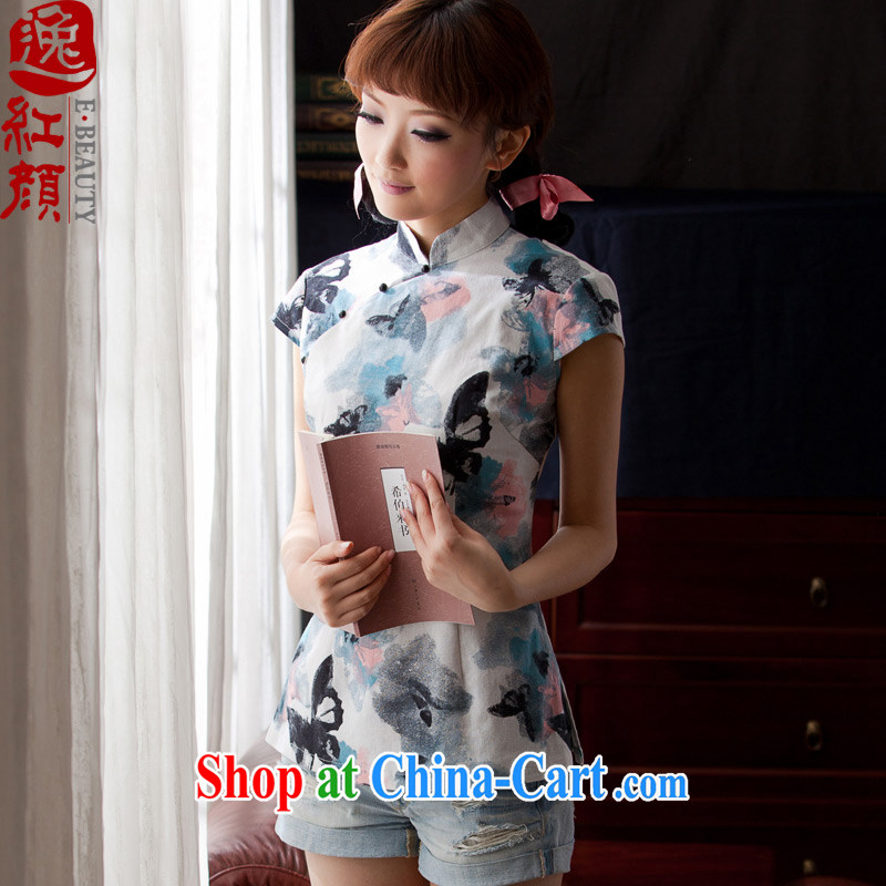The proverbial hero once and for all -- the butterfly cotton Ms. Yau Ma Tei cheongsam shirt short-sleeved improved stylish summer T-shirt Chinese Tang Women's clothes ethnic wind WJ D 005, if 2 XL