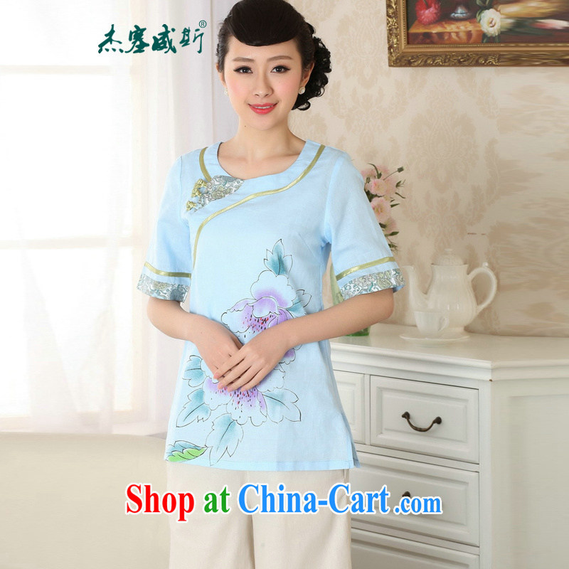 Jessup, new retro improved national wind round-collar short-sleeve manual tie cotton Ma Chinese qipao Chinese T-shirt shirt TA 0055 _ light blue M