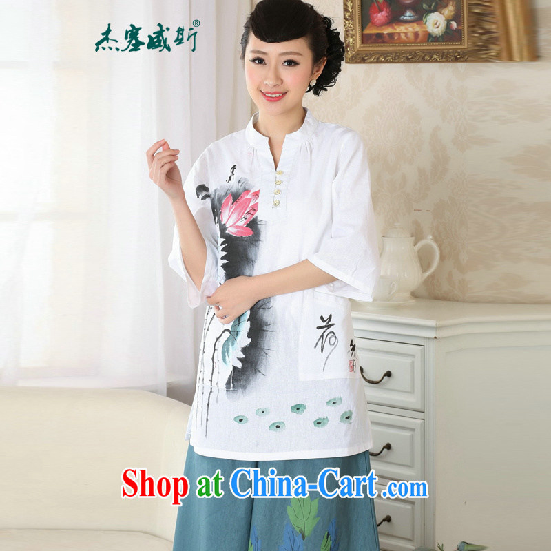 Jessup, new retro Ethnic Wind improved a half-collar hand-painted Chinese T-shirt Chinese T-shirt shirt TA 0057 _white XXXL