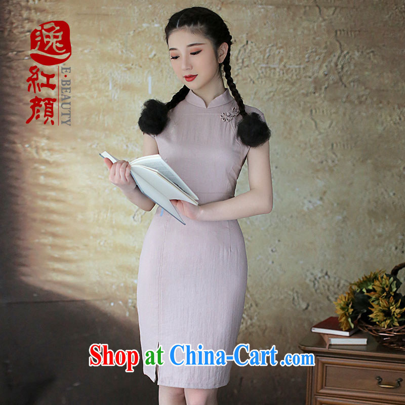 The proverbial hero once and for all -- Continued chord note cheongsam dress retro pixel color for dresses China wind female spring and summer 2015, National wind gray M