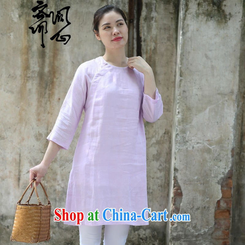 Ask a vegetarian spring and summer new linen pixel color Chinese T-shirt/dress robes and elegant light purple round-neck collar Chinese-light purple manual will be able to do the next 15 days,