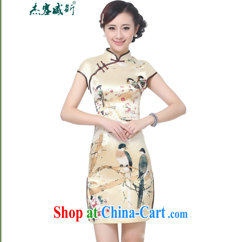 Jessup, new retro improved, for manual for short-sleeved qipao dresses cheongsam Chinese Chinese qipao TD 0197 _gold XXL