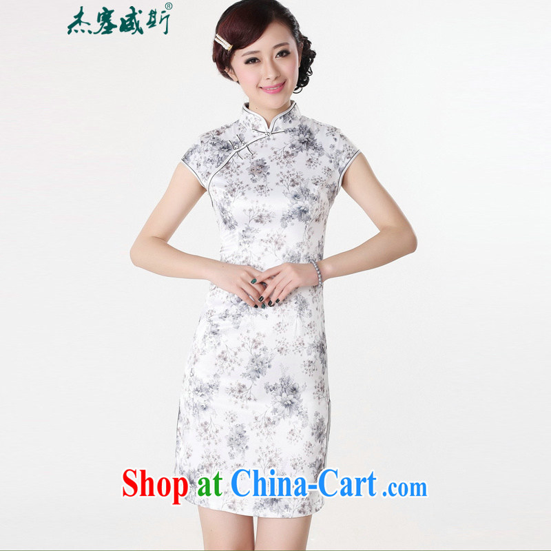 Jessup, new, fresh and elegant, short-sleeved stamp duty charge manually cheongsam dress cheongsam Chinese antique dresses TD #0201 white gray flowers XXL