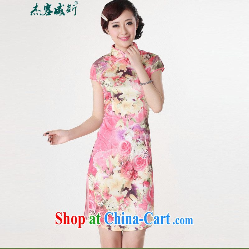 Jessup, new stylish and elegant, short-sleeved hand tie cheongsam dress Chinese cheongsam Chinese qipao TD 0198 #red XXL