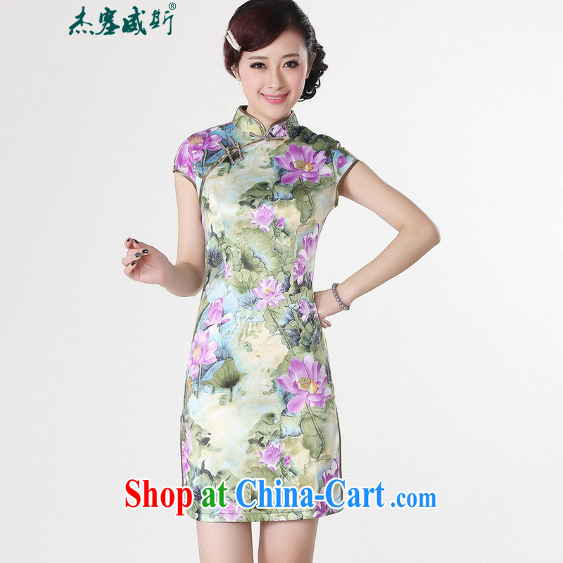 Jessup, new Stylish retro nation short-sleeved hand stamp duty charge cheongsam Chinese dresses Chinese qipao TD 0200 _purple XXL