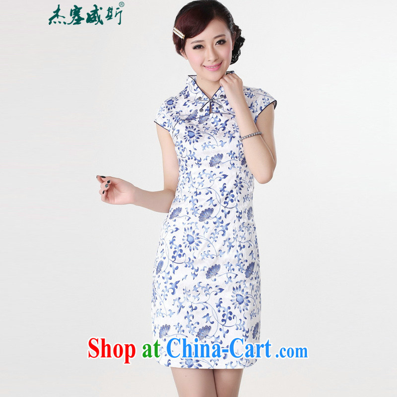 Jessup, new, Retro improved national, short-sleeved stamp manual tray snaps cheongsam dress Chinese cheongsam Chinese qipao TD 0207 _Blue on white flower XXL