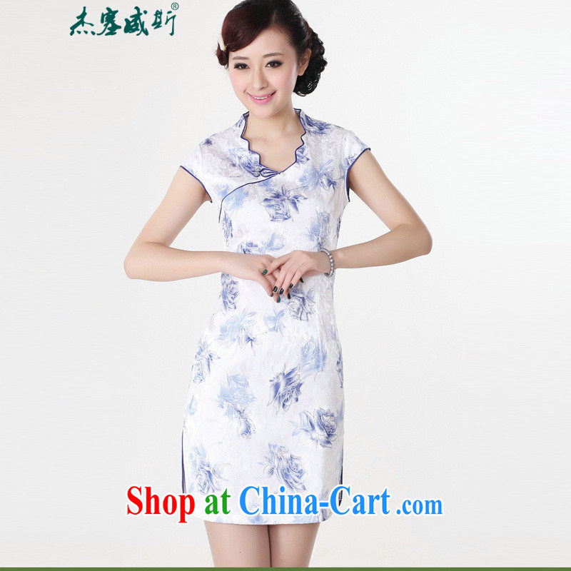 Jessup, new improved national V short-sleeved fine hand-tie short-sleeved stamp cheongsam dress Chinese cheongsam Chinese qipao TD 0206 Blue on white flower XXL