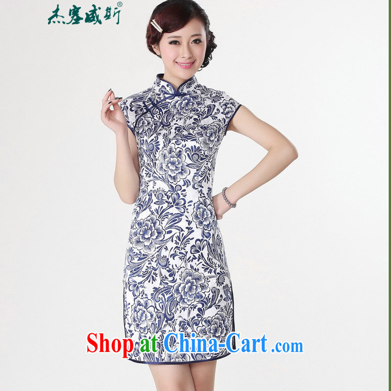 Jessup, new Ethnic Wind and elegant, for antique blue and white porcelain stamp short sleeve cheongsam dress improved Chinese qipao cotton robes TD 0204 Blue on white flower XXL
