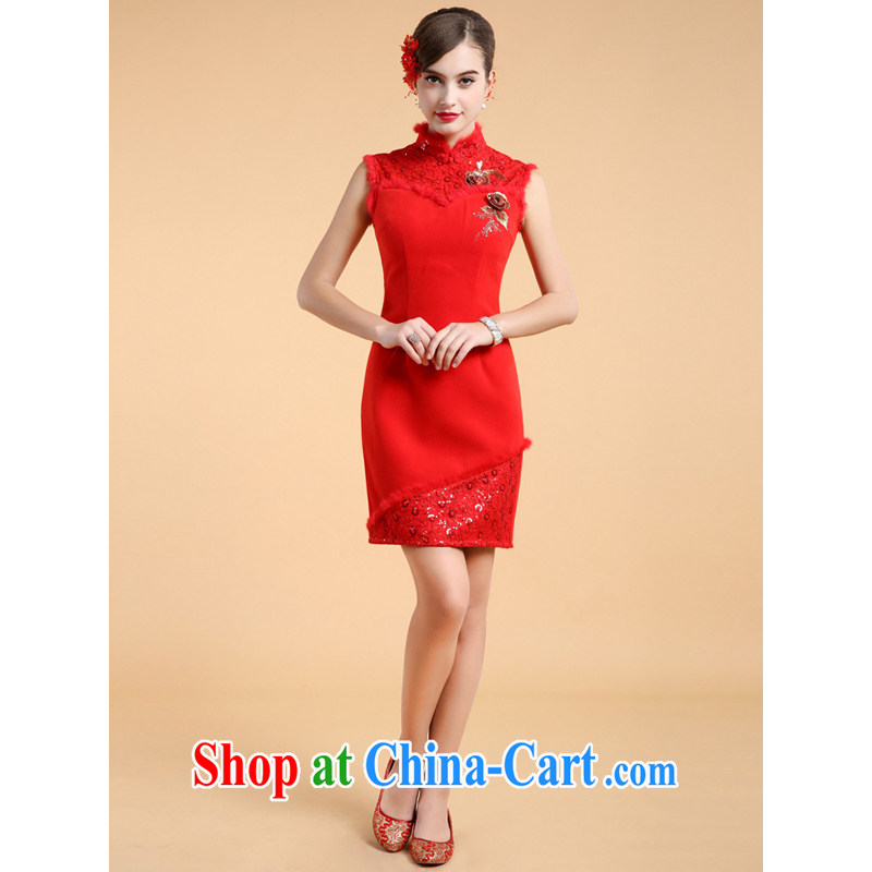 guoisya also contributed 2013, minimalist dresses two piece shawl long-sleeved winter cashmere wedding dress short red XL