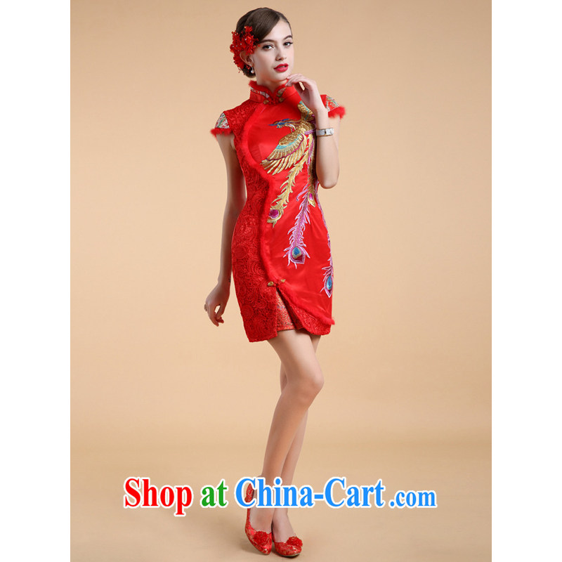 guoisya also contributed 2013 winter feather dresses short lace wedding toast serving temperament high-end dress red XL