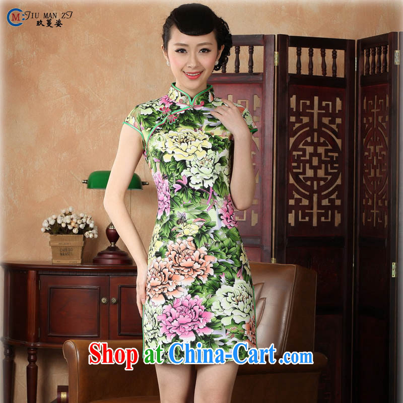 Capital city sprawl 2015 summer new retro short-sleeved improved stylish cotton stamp robe dress Chinese Dress ethnic wind short cheongsam dress D 0221 noble Peony figure 175/2 XL