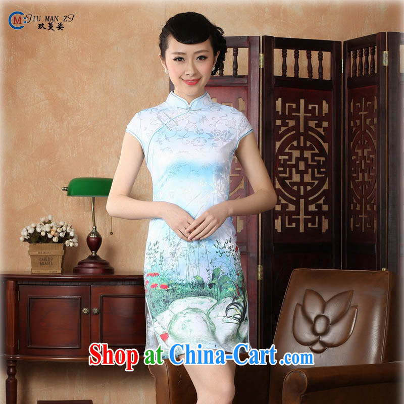 Ko Yo vines into colorful 2015 summer new retro short-sleeved improved stylish jacquard cotton-tie cheongsam dress Chinese Dress ethnic wind short cheongsam dress D 0222 light blue 175_2 XL