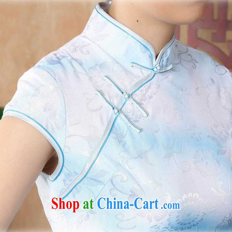 Ko Yo vines into colorful 2015 summer new retro short-sleeved improved stylish jacquard cotton-tie cheongsam dress Chinese Dress ethnic wind short cheongsam dress D 0222 light blue 175/2 XL, capital city sprawl, shopping on the Internet