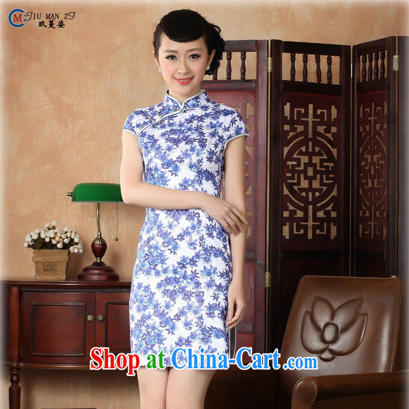 Ko Yo vines into colorful 2015 retro short-sleeved improved and stylish throughout the cotton for the cheongsam dress Chinese Dress Ethnic Wind short cheongsam dress D 0223 blue 175_2 XL