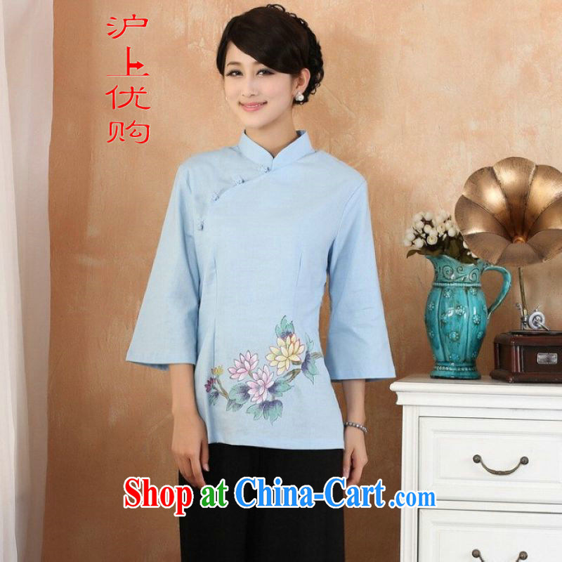 Shanghai, optimize purchase female Tang Women's clothes summer clothes, stamp duty for Chinese Han-female improved LF - 1blue2 XL
