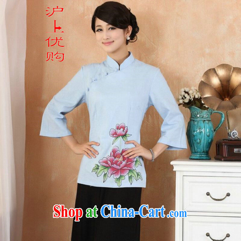 Shanghai, optimize purchase female Tang Women's clothes summer clothes, stamp duty for Chinese Han-female Enhancement - 1 blue XL