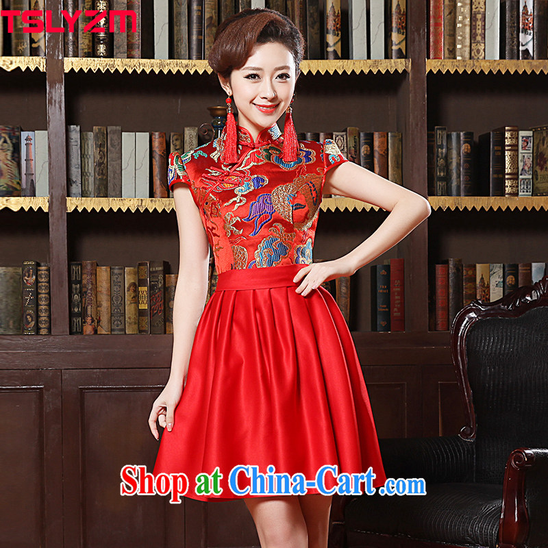 Tslyzm 2015 spring and summer dresses new short-sleeved dress fashion dresses red bridal toast clothing wedding dress cheongsam dress New Red XXL