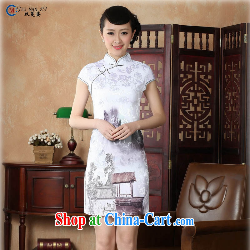 Capital city sprawl 2015 retro short-sleeved improved stylish jacquard cotton cheongsam dress Chinese Dress ethnic wind short cheongsam dress D 0226 landscape 175 _2 XL