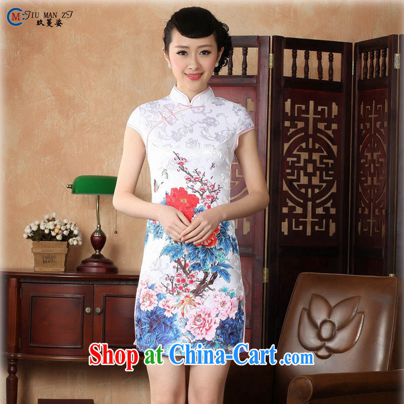 Capital city sprawl 2015 new retro short-sleeved improved stylish jacquard cotton cheongsam dress Chinese Dress ethnic wind short cheongsam dress D 0228 red flower 155_S