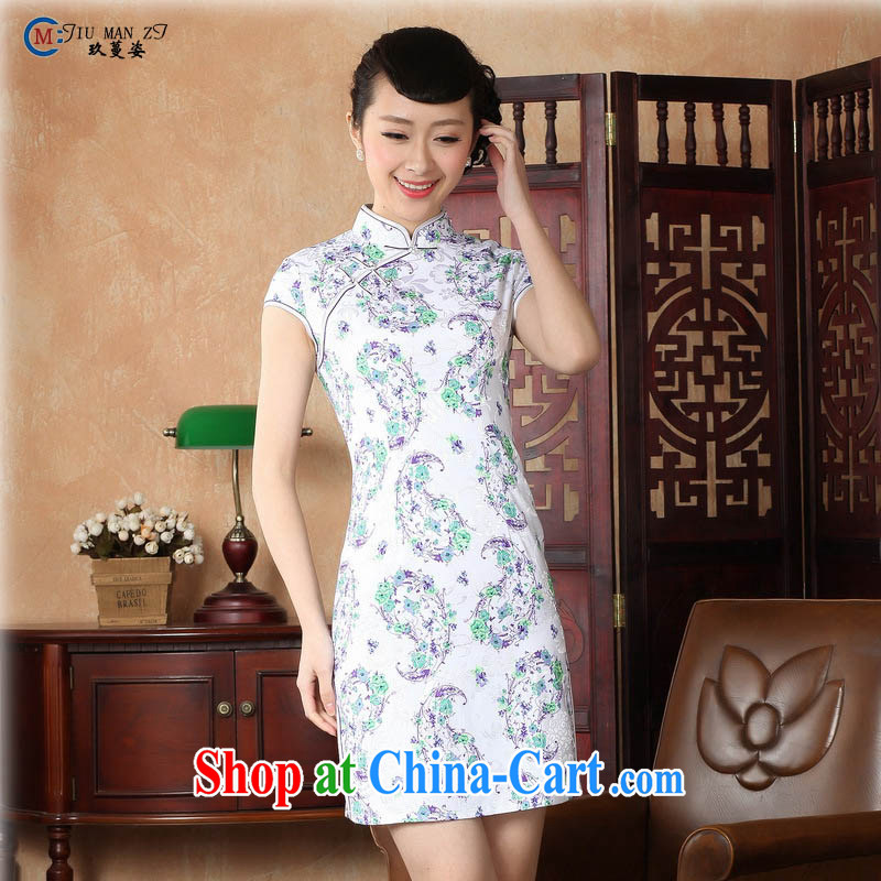 Capital city sprawl 2015 retro short-sleeve improved stylish jacquard cotton cheongsam dress Chinese Dress ethnic wind short cheongsam dress D 0229 light green stamp 175/2 XL