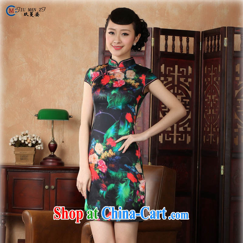 Capital city sprawl 2015 factory Direct retro short-sleeved improved stylish stamp damask cheongsam dress Chinese Dress ethnic wind short cheongsam dress D 0231 5 color 165/L