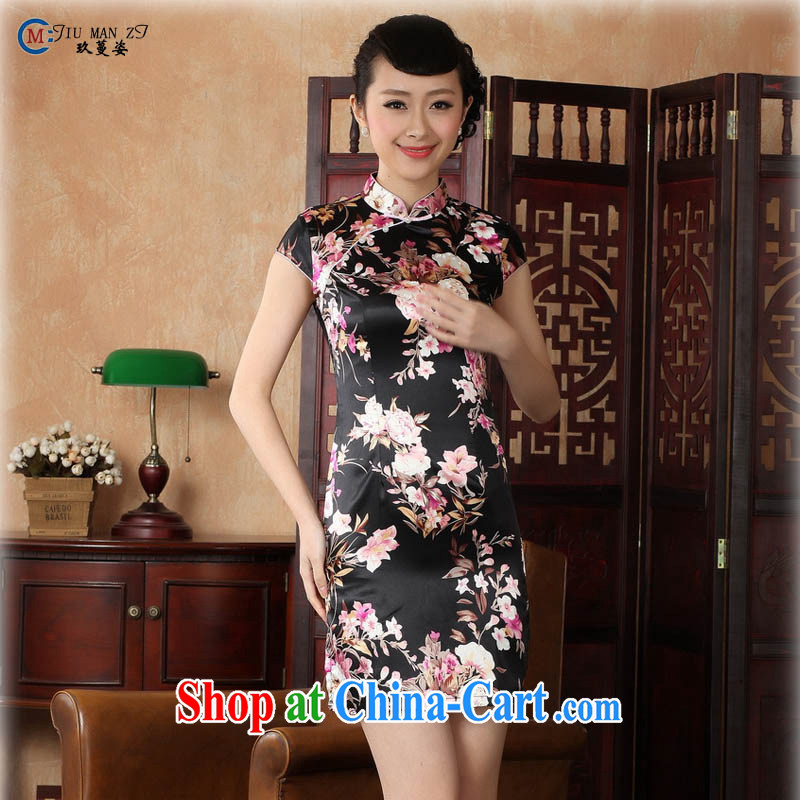 Summer 2015 new stylish high-end stamp damask is a tight, short-sleeved video thin improved retro elegant qipao dresses Tang replace J 5134 black 155_S
