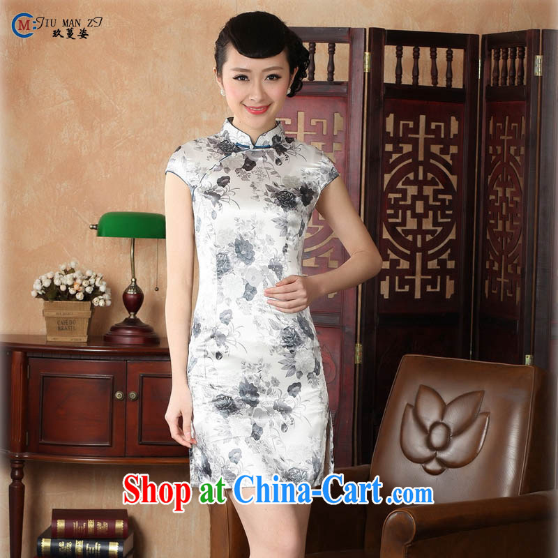 Ko Yo Mephidross colorful factory Direct retro short-sleeved improved stylish stamp damask cheongsam dress Chinese Dress ethnic wind short cheongsam dress J 5139 Map Color 175_2 XL