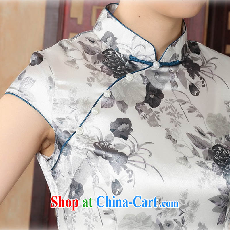 Ko Yo Mephidross colorful factory Direct retro short-sleeved improved stylish stamp damask cheongsam dress Chinese Dress ethnic wind short cheongsam dress J 5139 Map Color 175/2 XL, capital city sprawl, shopping on the Internet