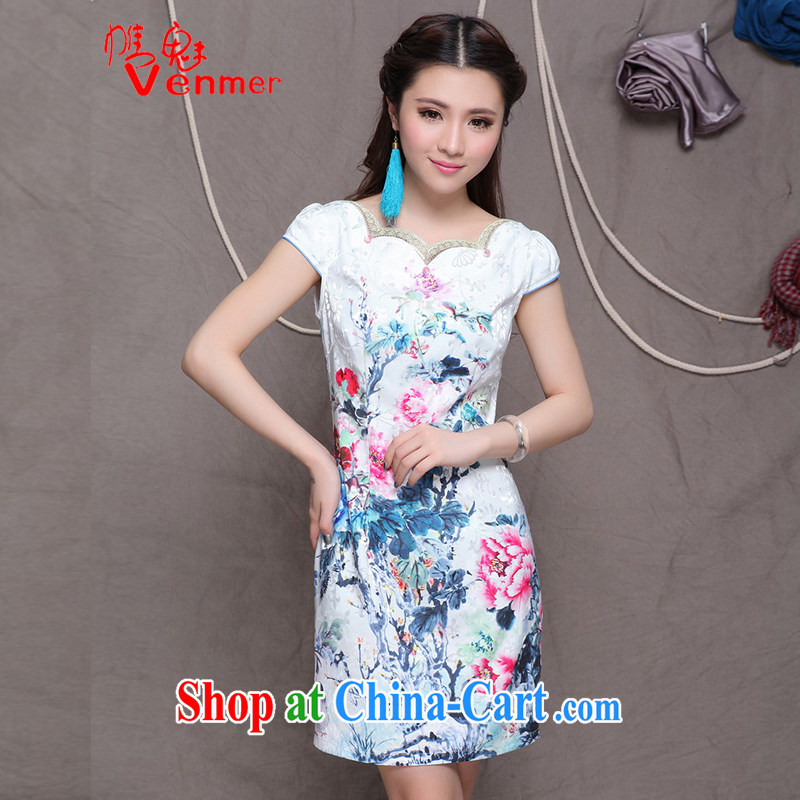 Clearly, Venmer China wind National wind improved stylish commuter cultivating graphics thin dresses 9904 white XXL
