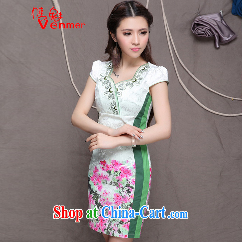 Clearly, Venmer embroidered cheongsam high-end Ethnic Wind and stylish Chinese qipao dress daily retro beauty video tall dresses 9906 green XXL