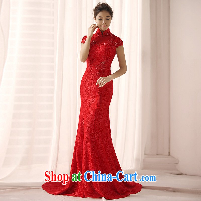 Garden 2015 new dresses Q 0362 package shoulder-length, red crowsfoot bridal gown back doors red tail 30 CM tailored