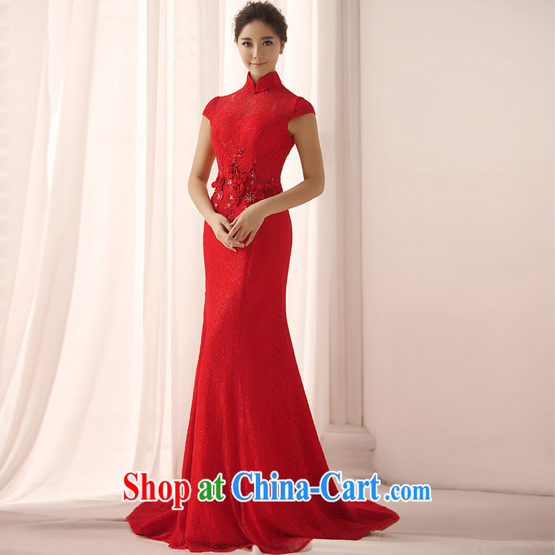 Garden 2015 new bridal dresses Q 0361 red long, the doors have been A barrel swing bridal dresses red with a tailored