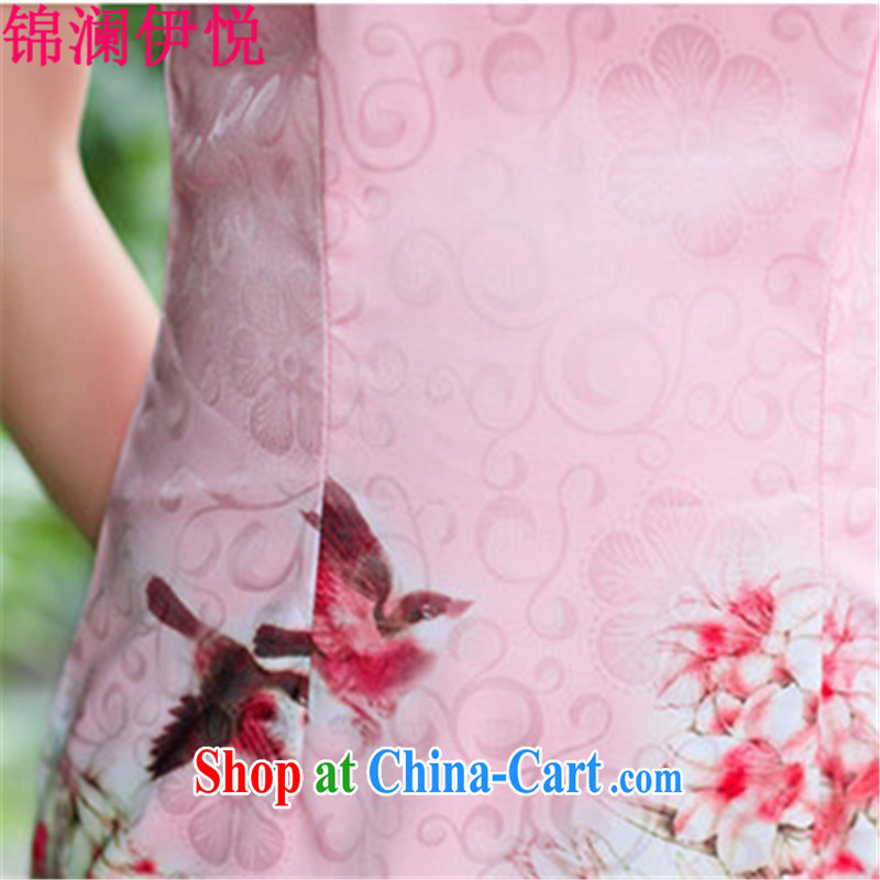 kam world the Hyatt cheongsam Chinese Peony 100, stamp fine art China wind elegance of known mother load cooked female improved cheongsam dress modestly short skirt with green Peony XXL, Kam world, Yue, and shopping on the Internet