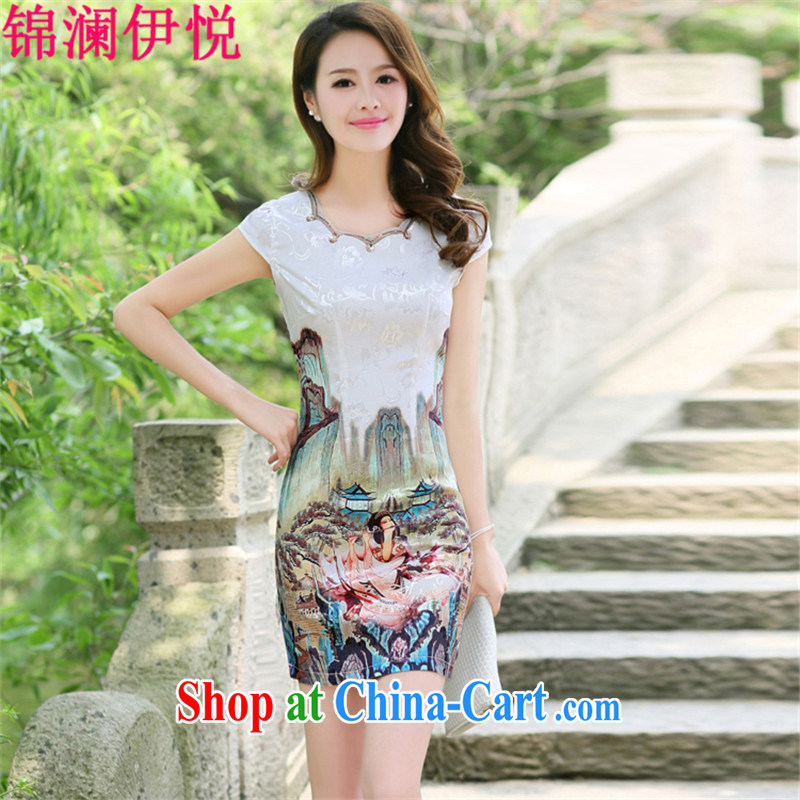 kam world the Hyatt beauty graphics thin lady Xiao Ming pattern antique Chinese landscapes figure painting stamp pattern style short-sleeved improved cheongsam dresses daily dress dress gold beauty figure XXL