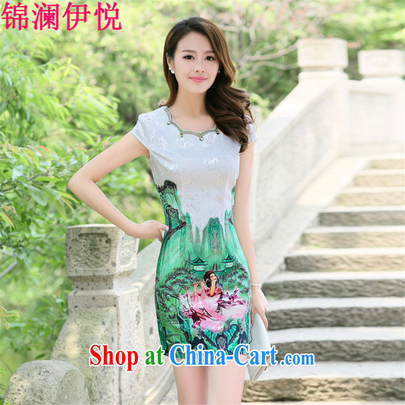 kam world the Hyatt girls decorated in style Mrs women elegant knowledge of cultivating graphics thin retro China wind short cheongsam dress improved dress skirt mother load the code Green Beauty Figure XXL